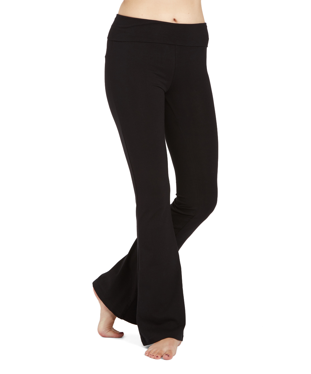 c06db466715df6 ToBeInStyle Black Wide Flare Yoga Pants - Women | Zulily