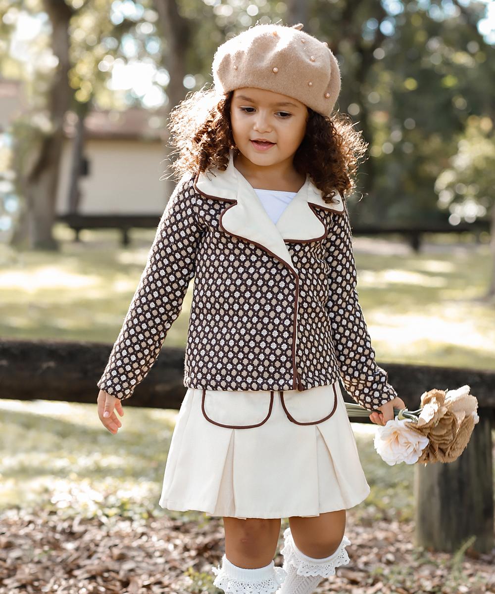 8bbbf101c Mia Belle Girls Mocha & Taupe Tweed Blazer & Pleated Skirt - Toddler ...