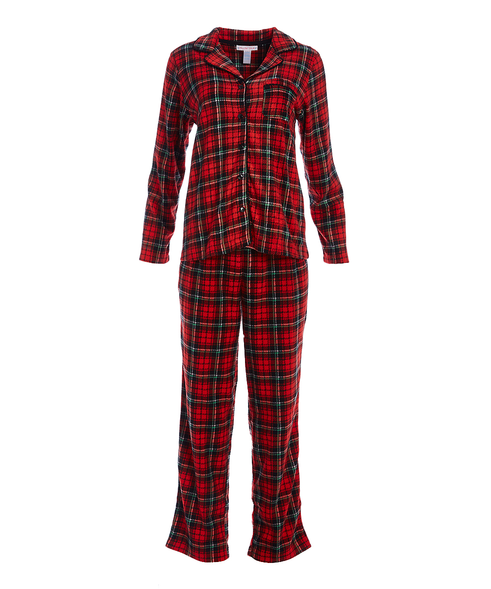 f1a811f5dd0e Pillow Talk Red   Black Plaid Heart Of Pom Fleece Pajama Set - Women ...