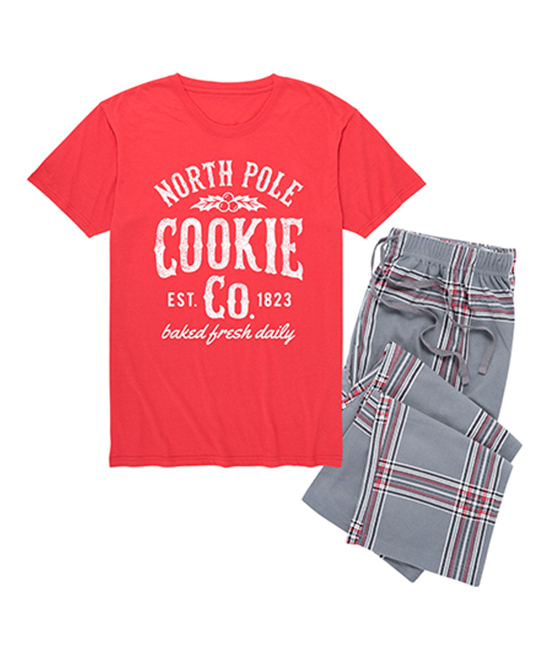 Nap Chat Red Charcoal Plaid North Pole Cookie Co Pajama Set Men