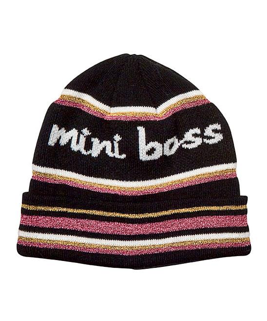 8ddec710f San Diego Hat Company Black & Pink Glitter Stripe 'Mini Boss' Beanie -  Toddler