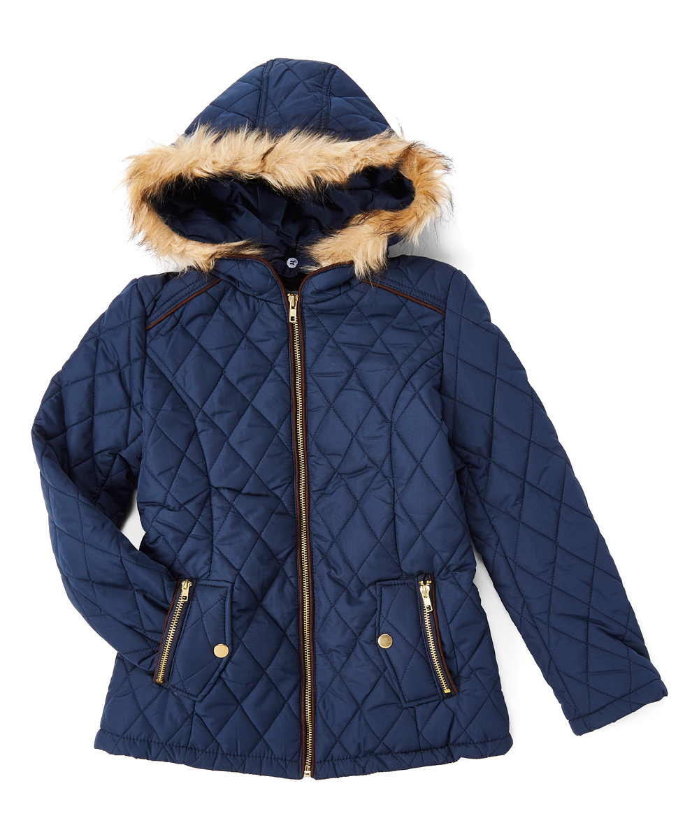 3323a0dad99b Cuties Fashions Navy Quilted Coat - Girls