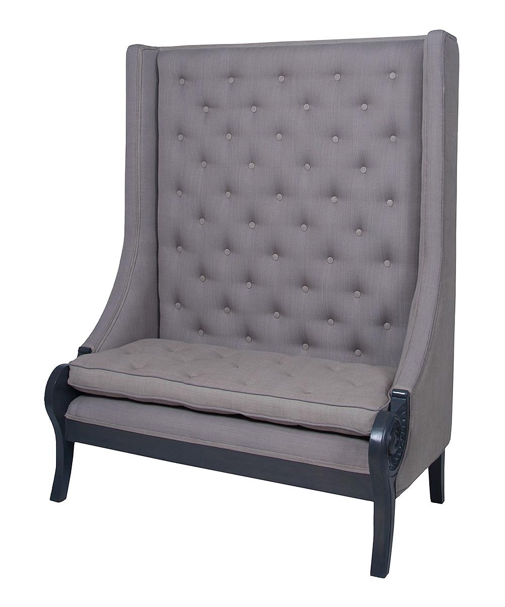 Smoke High-Back Button-Tufted Sofa Bench