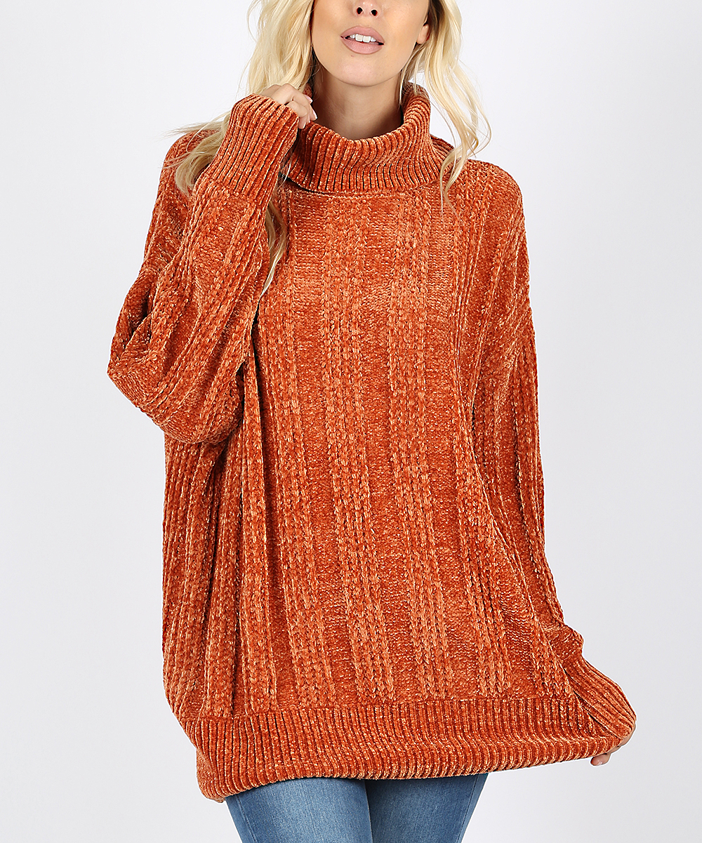 9fe2201ec86 love this product Rust Cable-Knit Turtleneck Sweater - Women