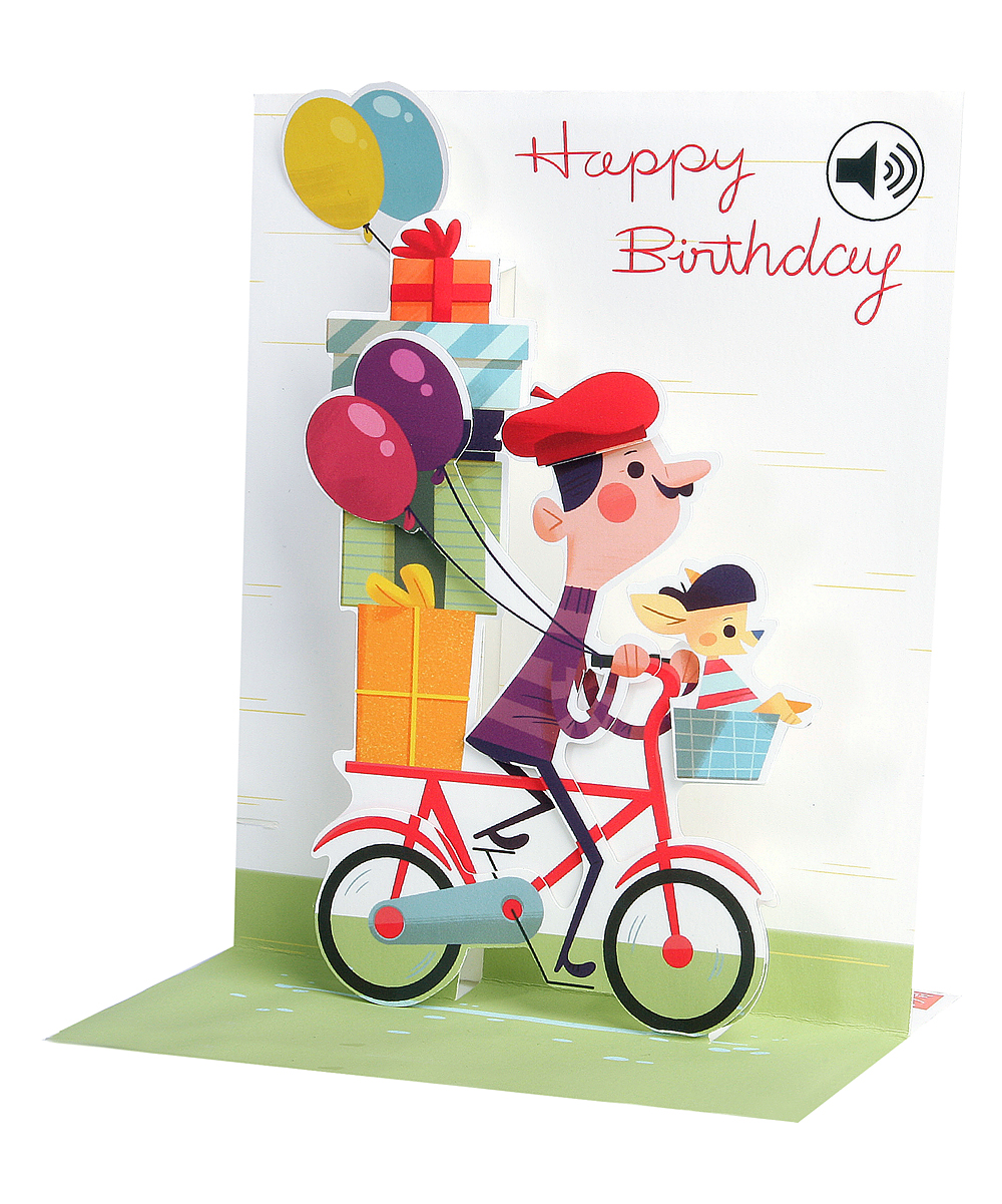 Up With Paper Bicycle Birthday Sound Effects Pop-Up Card
