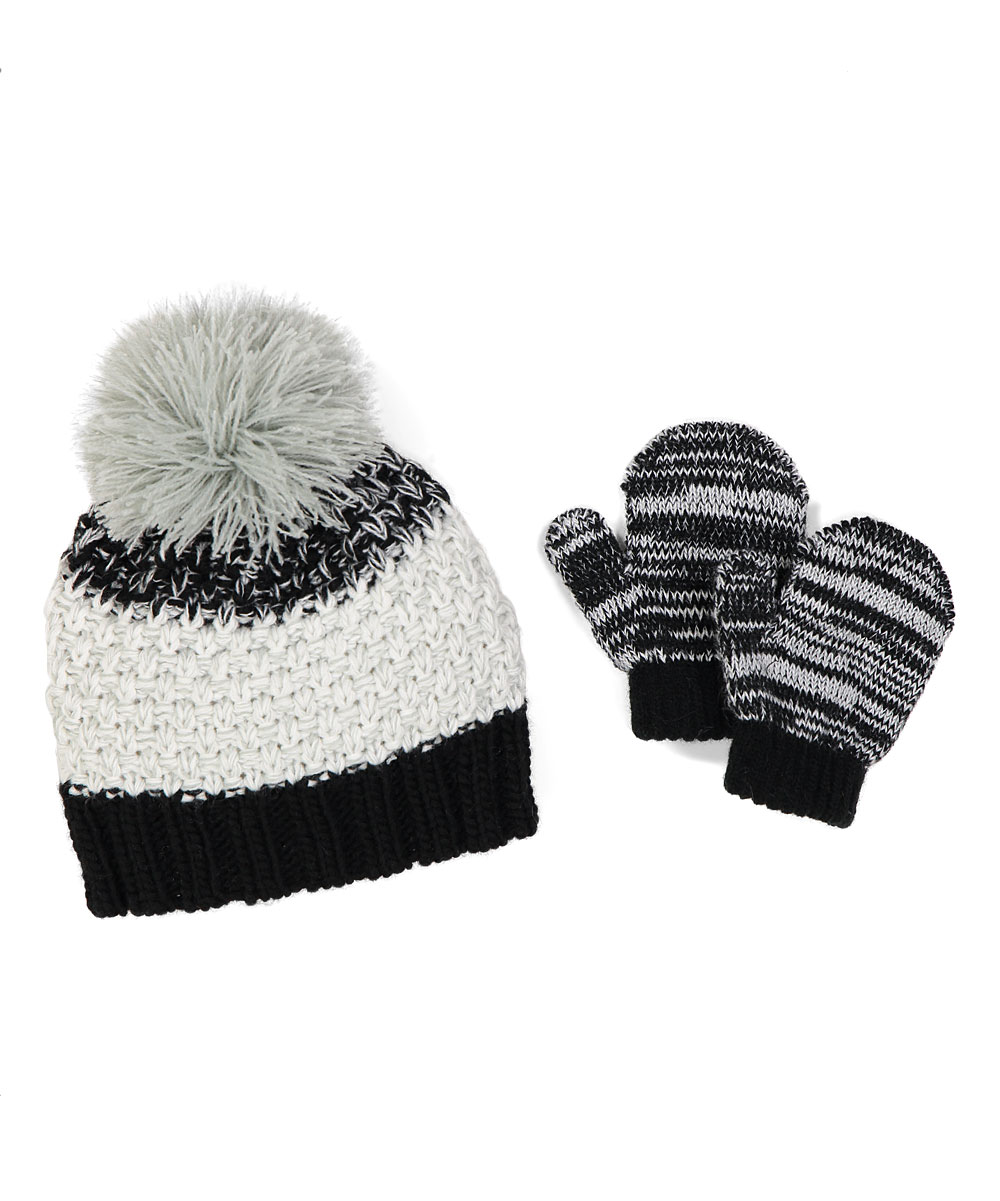 b7b58a280a0 love this product Black   White Color Block Pom-Pom Beanie   Mittens -  Infant   Toddler