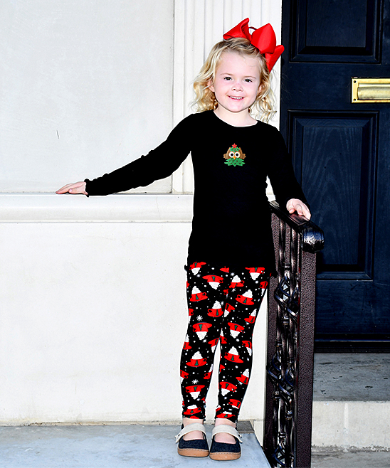 7c1577b9e4f8 love this product Black Owl Tree Long-Sleeve Tee   Hot Chocolate Leggings -  Toddler   Girls