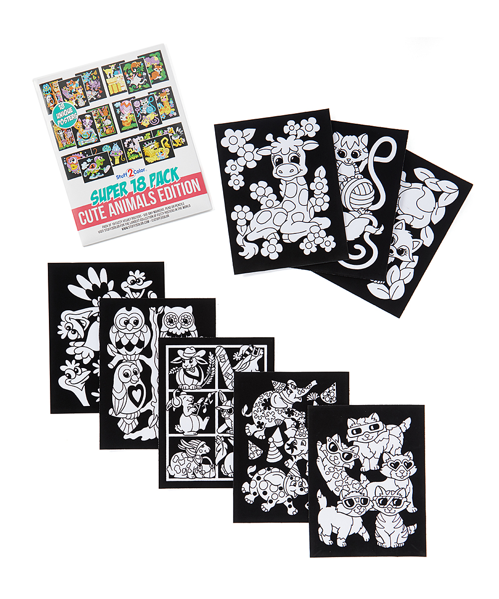 Stuff2Color Cute Animals Edition Fuzzy Velvet Coloring Poster - Set ...