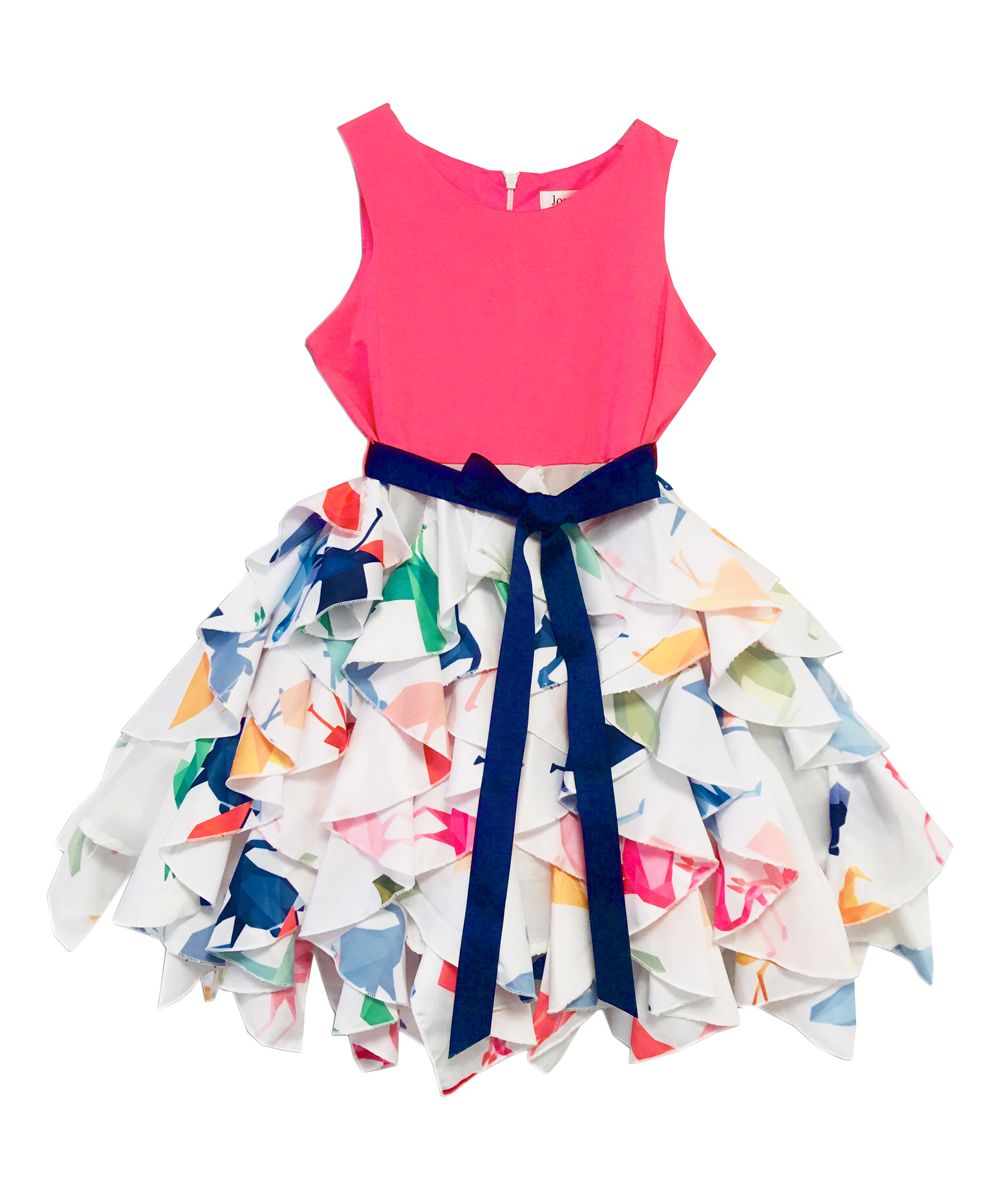 79f6c52d962382 love this product Pink   White Abstract Waterfall A-Line Dress - Girls