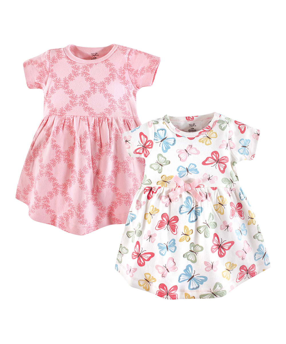 3095ca51c love this product Pink & White Butterflies Organic Cotton A-Line Dress Set  - Infant, Toddler & Girls