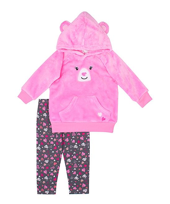 b75c4bfe Nannette Kids Pink Bear Hoodie & Gray Heart Leggings - Infant & Toddler