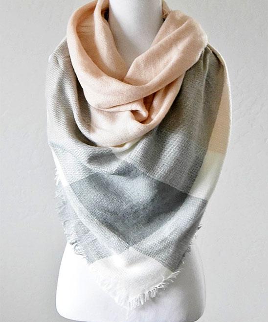7e812f49e PeekABootSocks Light Gray and Pink Triangle Blanket Scarf   Zulily