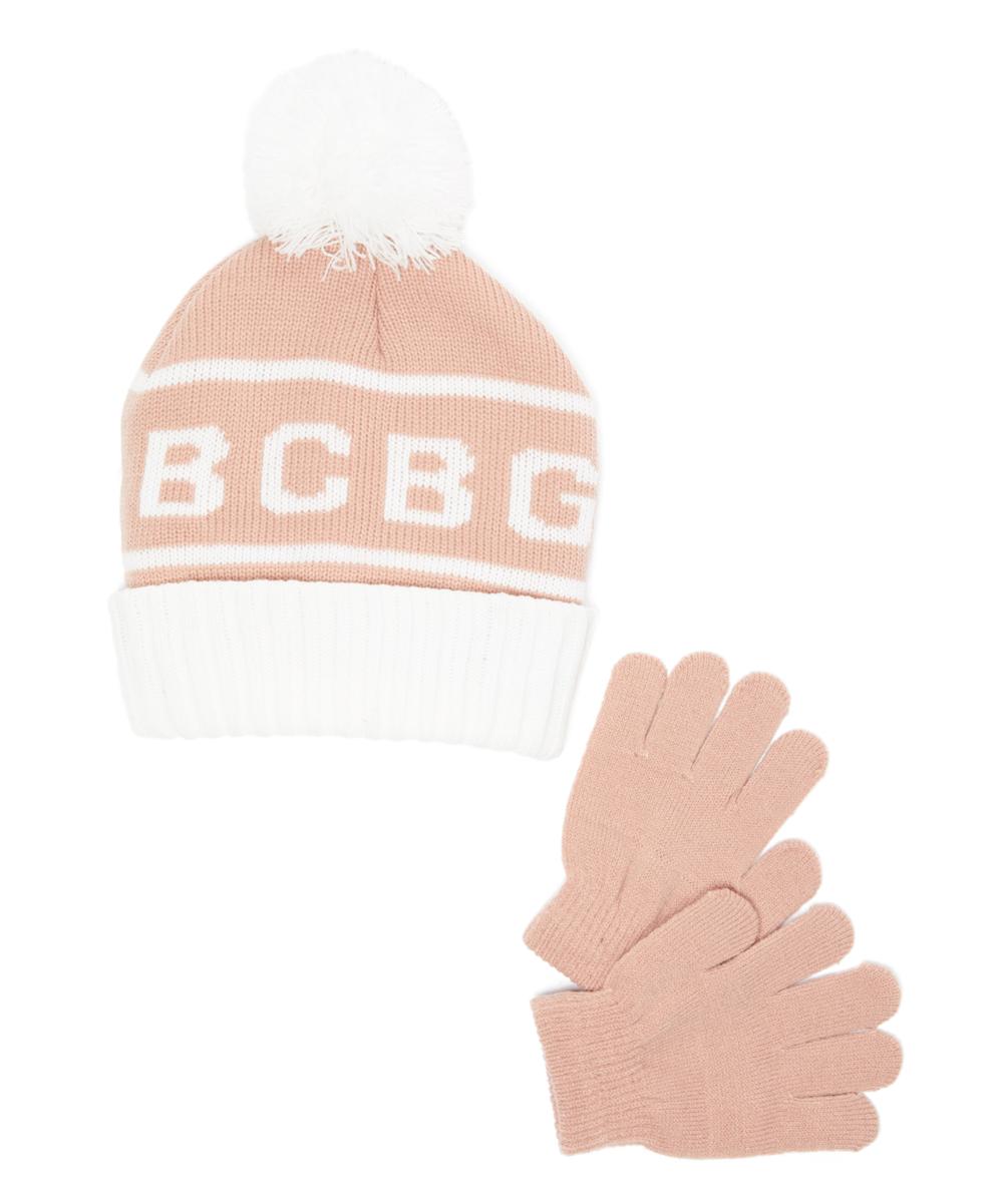 d1a2bf42c BCBGIRLS Rose & White 'BCBG' Pom-Pom Beanie & Gloves