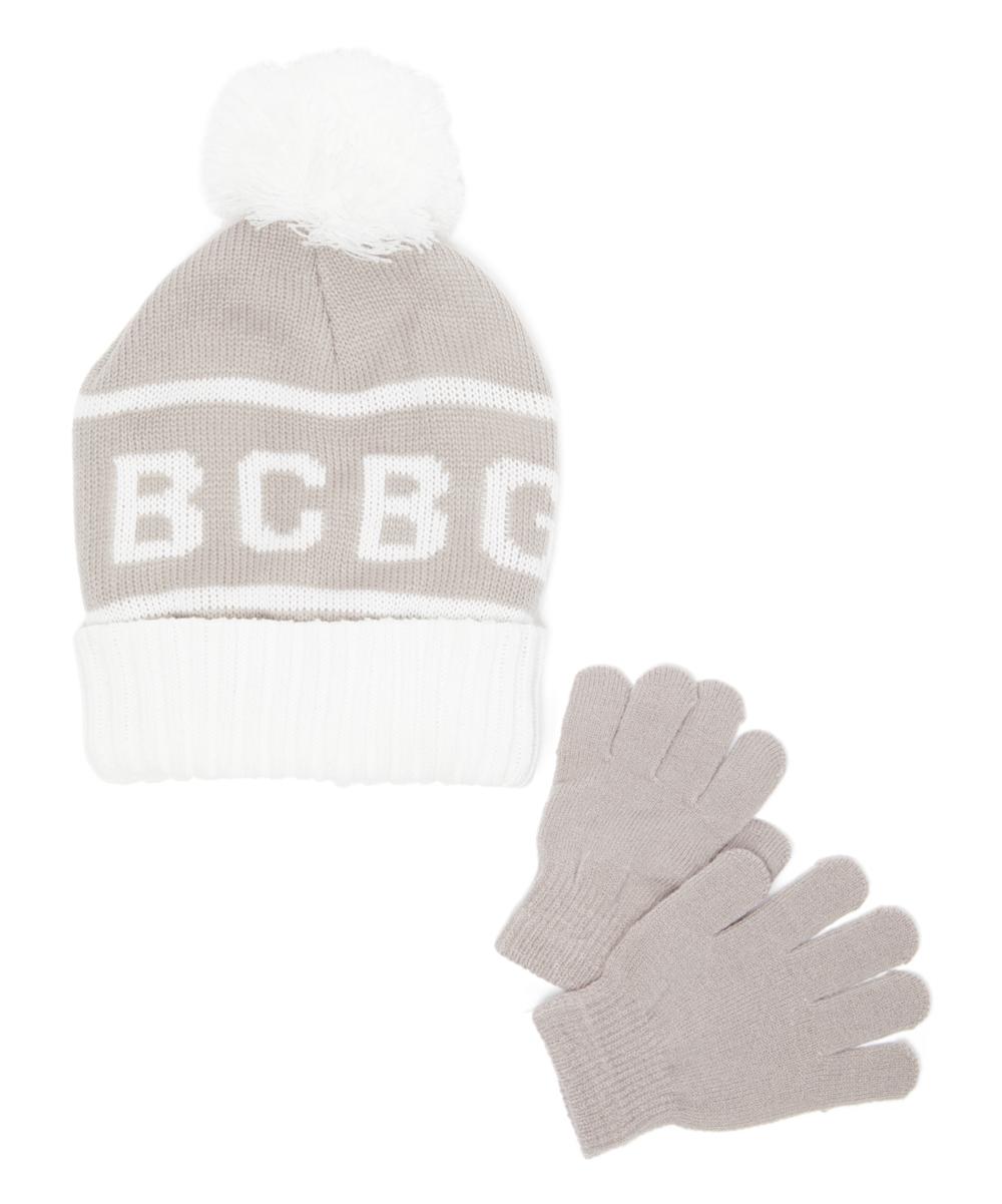 734383a78 BCBGIRLS Dove Gray & White 'BCBG' Pom-Pom Beanie & Gloves