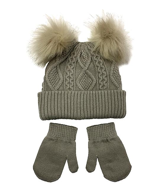 d31a0dbfa NYGB Boulder Double Pom-Pom Hat & Mittens - Newborn
