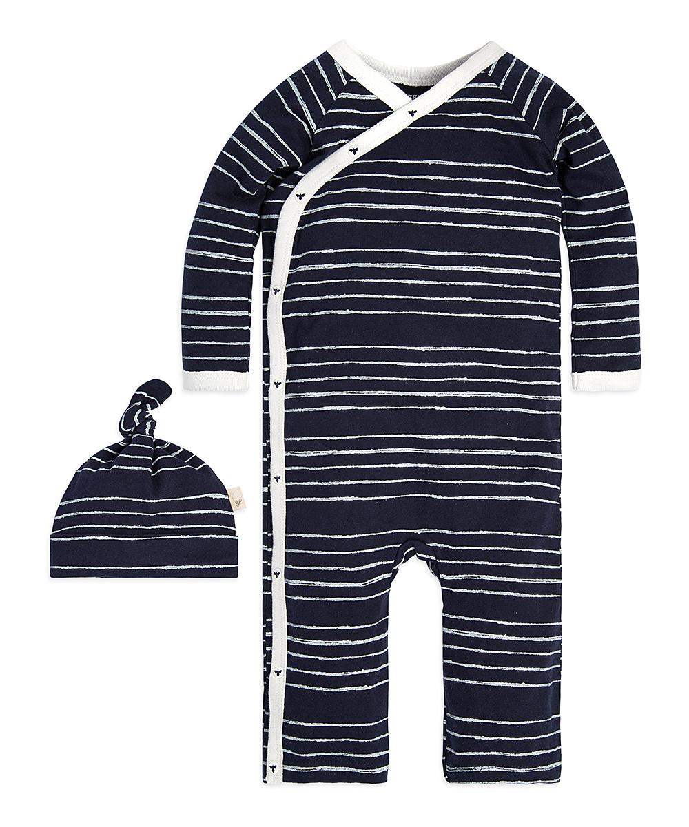 b2b9922bf Burt's Bees Baby Midnight Melody Stripe Kimono Playsuit & Hat - Newborn &  Infant