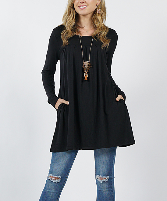Black Pleated Long-Sleeve Two-Pocket Tunic