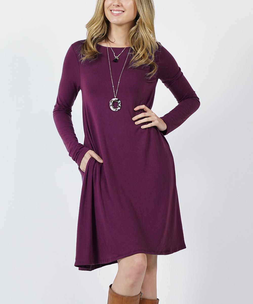 c980ce50913 love this product Dark Plum Straight-Hem Scoop Neck Pocket Tunic Dress -  Women