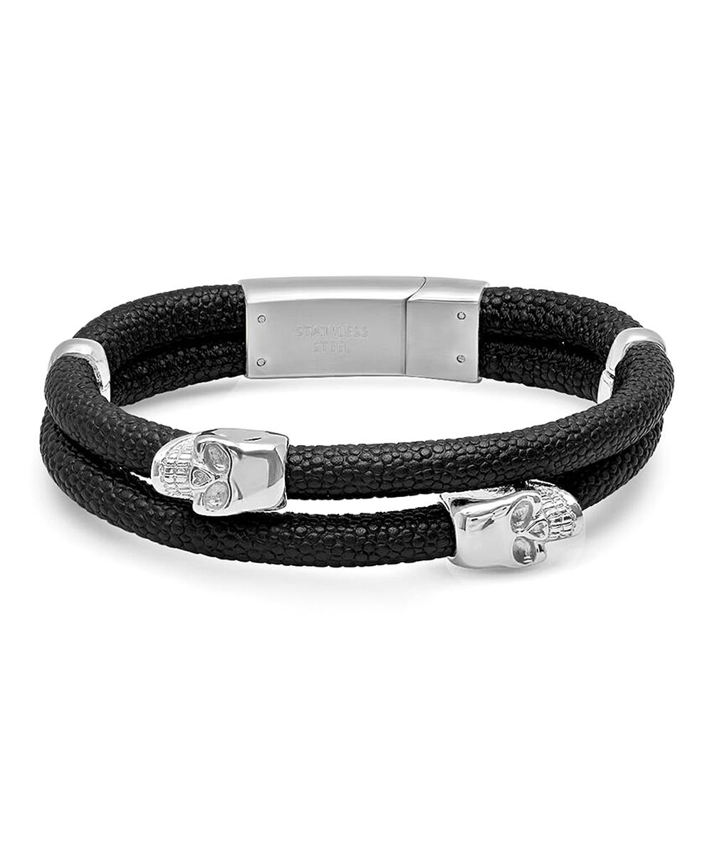 4347ceb462977 Steel Time Black & Stainless Steel Leather Skull Bracelet