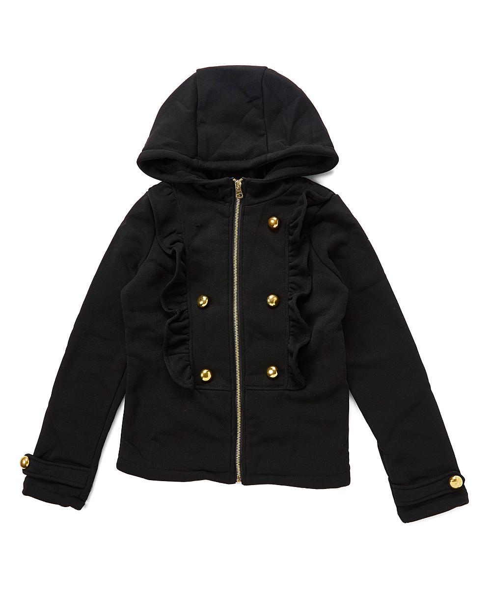 533ac7366ee0 Chillipop Black Ruffle Hooded Jacket - Girls