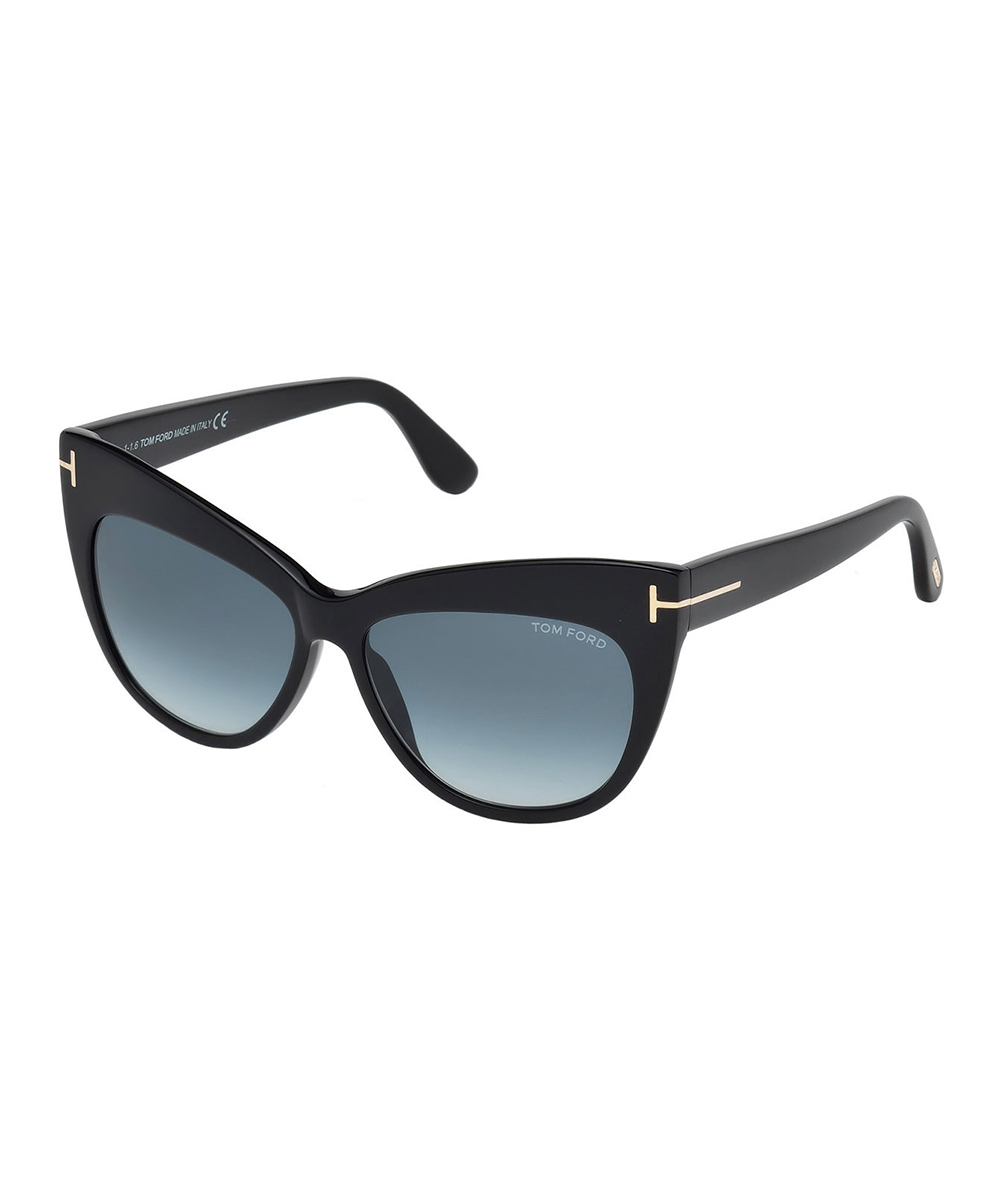 fd7add226b72 love this product Shiny Black & Gradient Blue Cat-Eye Sunglasses