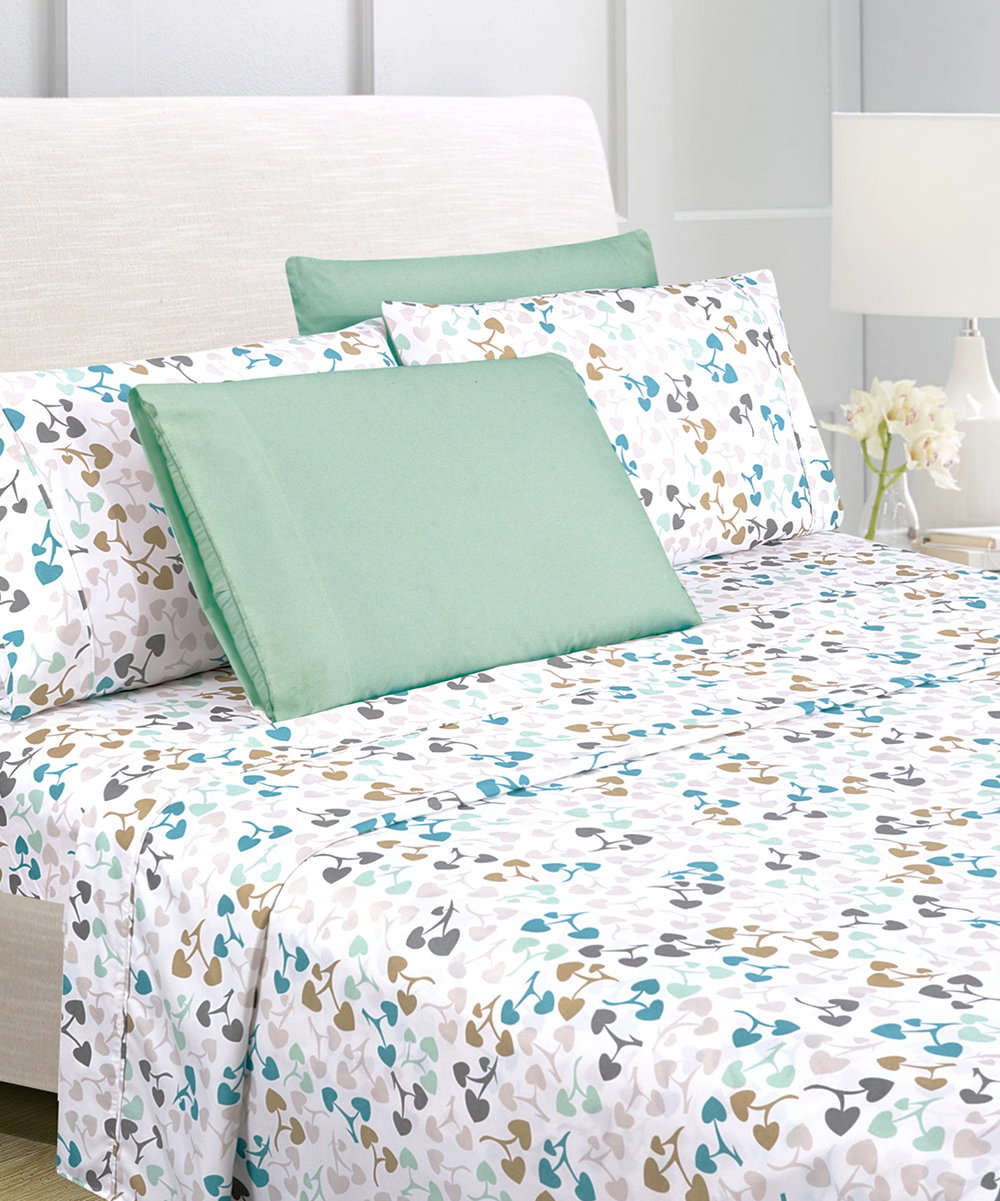 American Home Collection White Heart Six-Piece Sheet Set