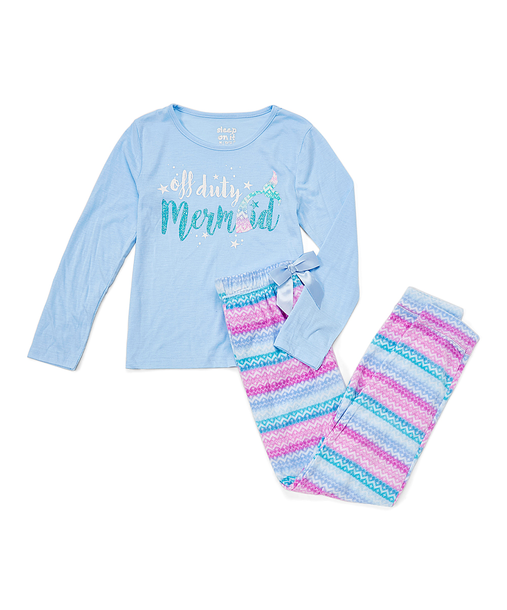 Sleep On It Blue Fleece Off Duty Mermaid Pajama Set - Girls  3453ca702