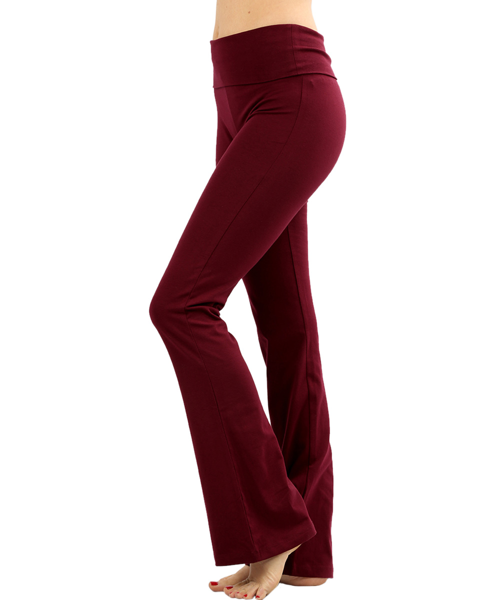 0616bed3e9 Active USA Dark Burgundy Fold-Over Yoga Pants - Women & Plus | Zulily