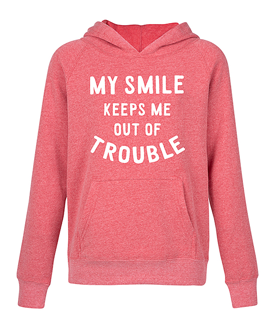 Instant Message Heather Red My Smile Keeps Me Out Of Trouble Raglan
