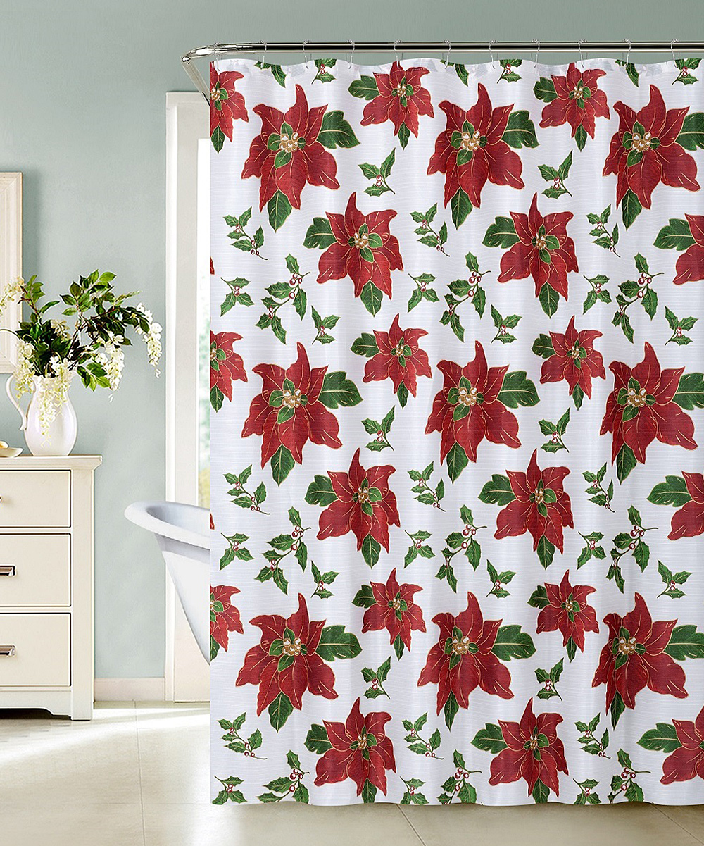 Red Christmas Flower Shower Curtain