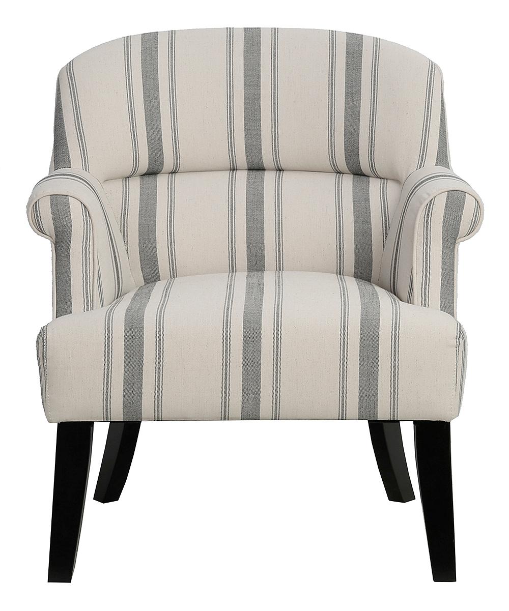 Fantastic Pulaski White Gray Stripe Welted Back Wing Chair Dailytribune Chair Design For Home Dailytribuneorg