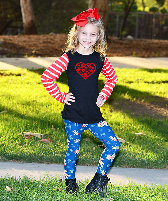 61593295b9328 love this product Black & Red Snowflake Heart Long-Sleeve Top & Blue  Snowman Leggings - Toddler & Girls