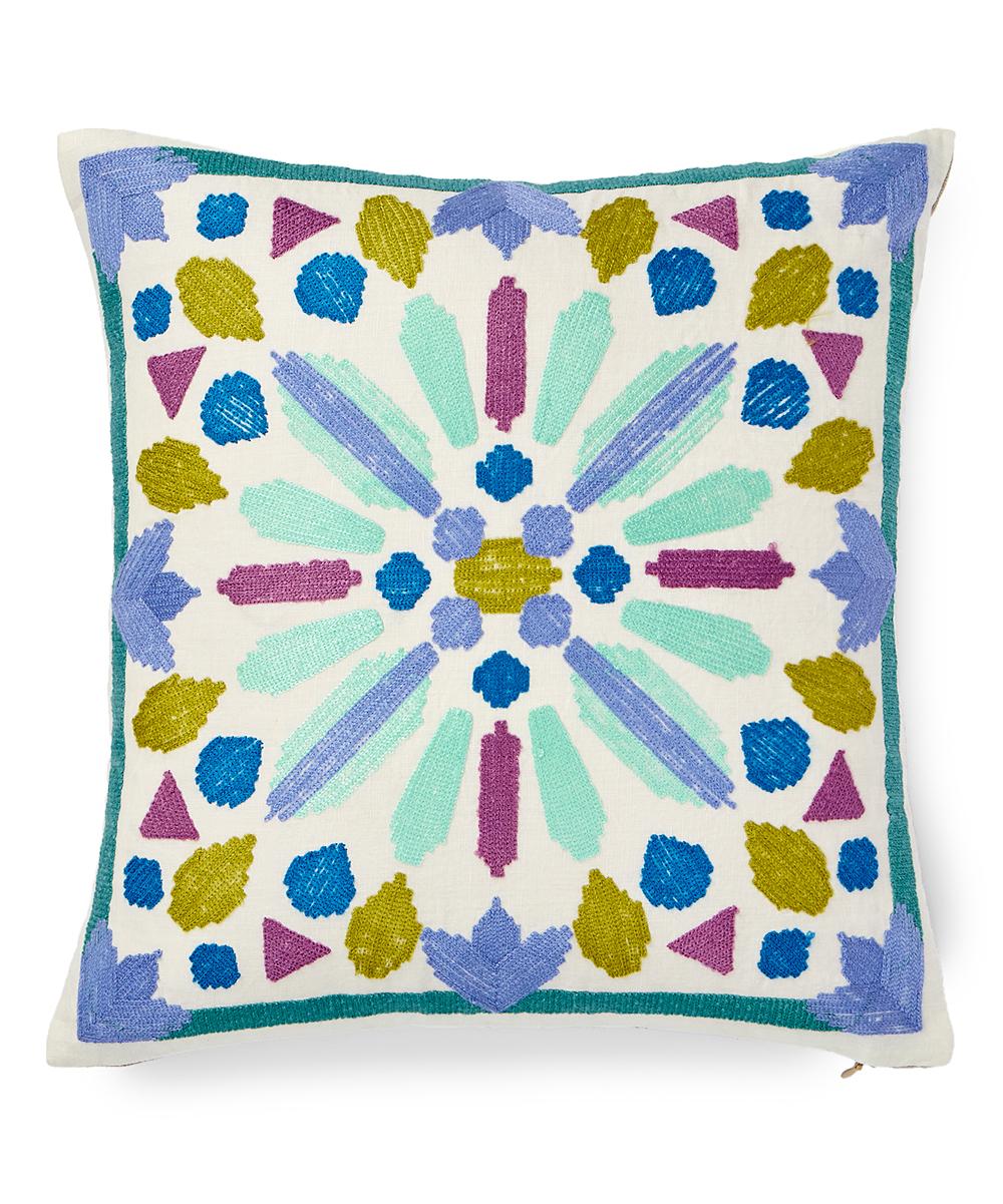 861c6925d65 bluebellgray Blue & Green Lola Linen Throw Pillow   Zulily
