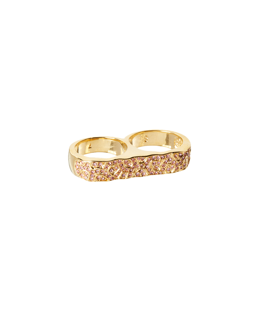 2919585d64f8c Erica Anenberg 22k Gold-Plated & Pink Pebble Double-Finger Ring With  Swarovski® Crystals