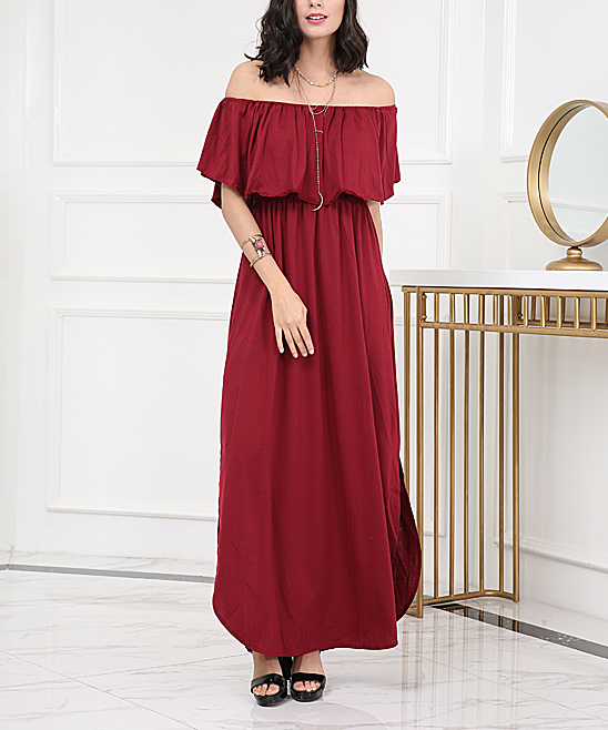 97679ba4570 love this product Red Ruffle Off-Shoulder Maxi Dress - Women   Plus