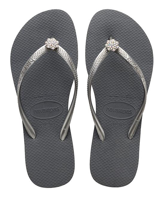 b905c8026d00ff love this product Steel Gray   Bright Silver Crystal Poem Slim Flip Flop -  Women