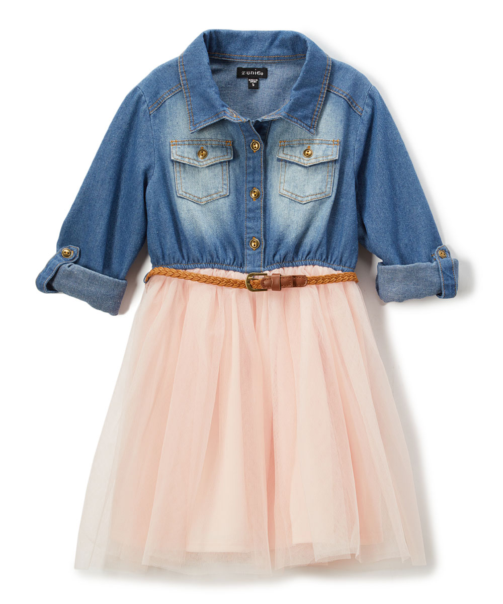 Zunie Denim Blush Shirt Dress Girls Zulily