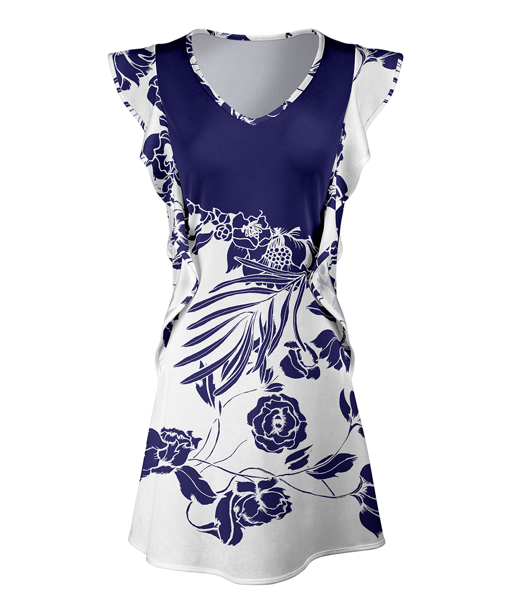 f0a98d45973 love this product Navy & White Floral Flutter-Sleeve Tunic - Women & Plus