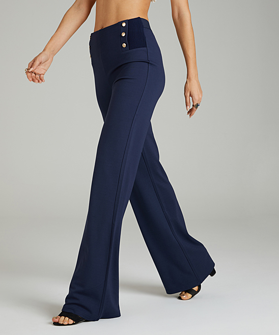 740e33ebc4e Navy Button Detail High-Waist Pants - Women & Plus