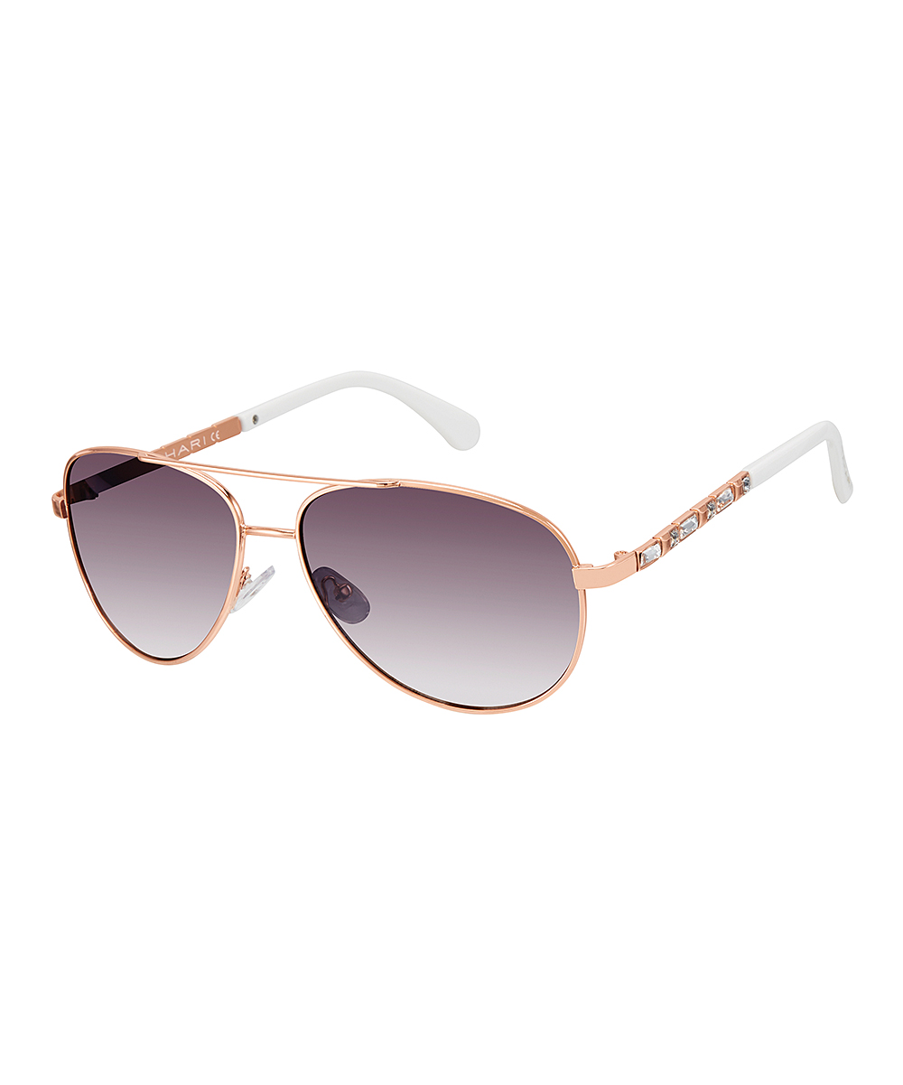 791de13a9ea Tahari Rose Gold, White & Purple Gradient Aviator Sunglasses