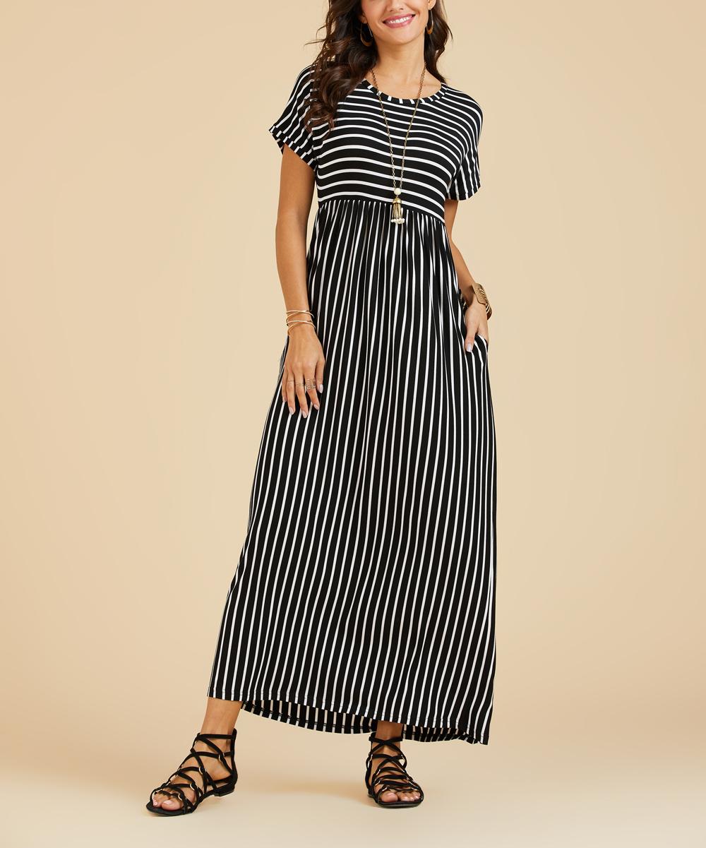 32fbc37fe Black Stripe Pocket Empire-Waist Maxi Dress - Women & Plus