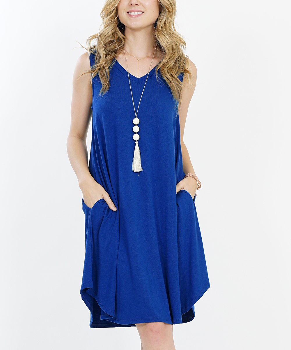 d7f500abc4fc48 love this product Denim Blue V-Neck Sleeveless Curved-Hem Pocket Shift Dress  - Women   Plus