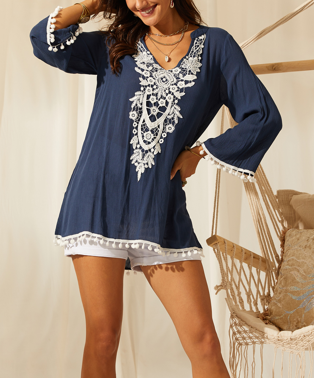 5269b00852e1 Navy & White Lace-Front Tunic - Women & Plus - Suzanne Betro