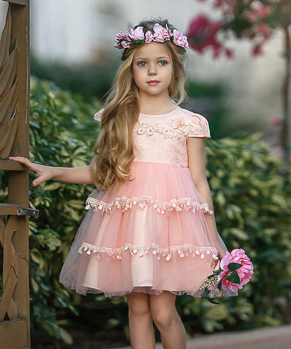 5d5c4bb4a Mia Belle Girls Pink Floral Chiffon Cap-Sleeve Dress - Girls