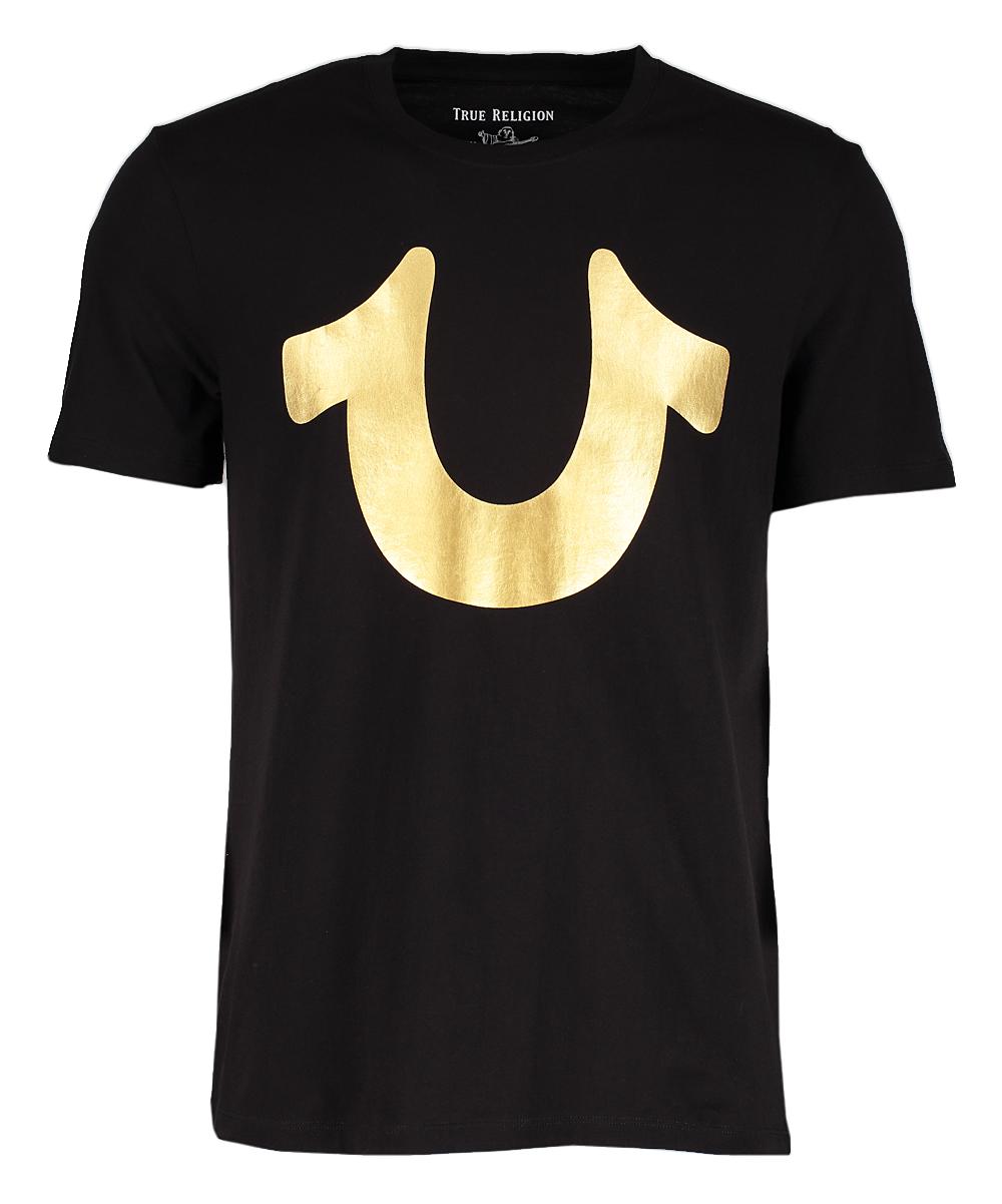 569bca87 True Religion Black & Gold Horseshoe Logo Tee - Men | Zulily