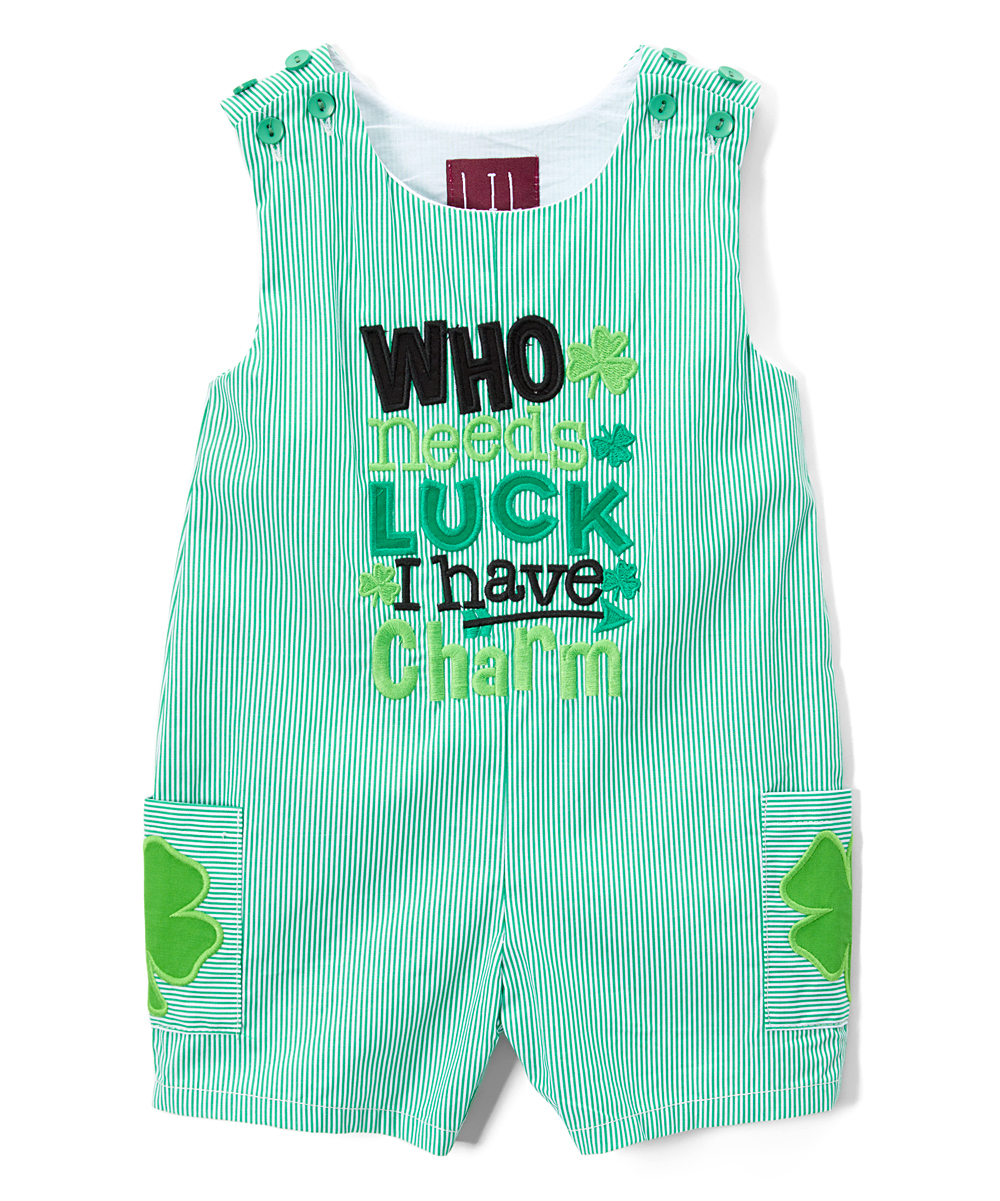 Love This Product Green White Stripe Who Needs Luck Pocket Shortalls Infant Toddler
