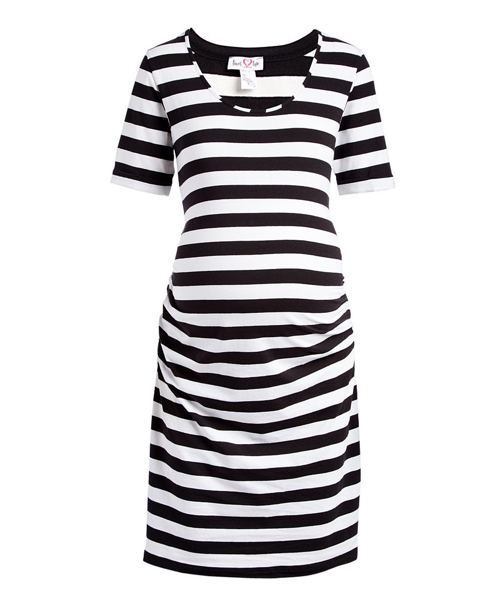 0b6a8f2f156d1 Times 2 Black & White Stripe Short-Sleeve Maternity T-Shirt Dress ...
