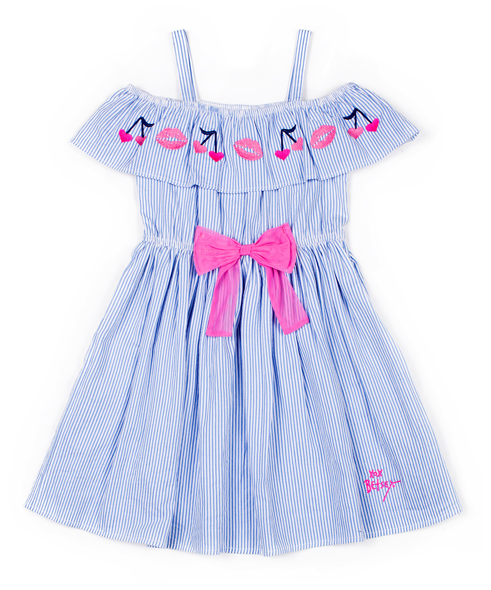 5cc49b04d11a love this product Light Blue Pinstripe Embroidered Smocked Off-Shoulder  Dress - Infant, Toddler & Girls