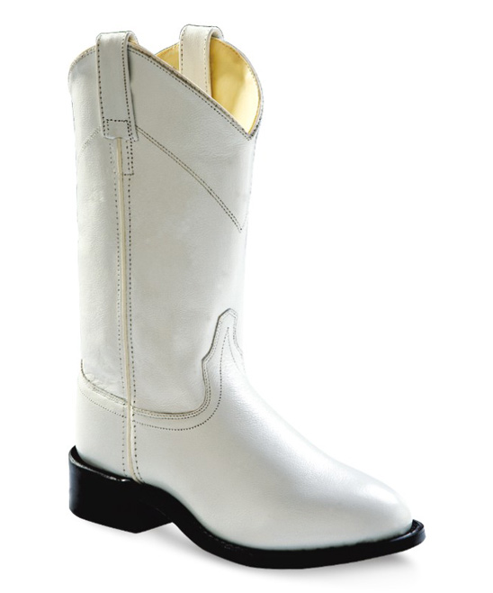 82a7ea803df Old West White Square-Toe Leather Cowboy Boot - Women