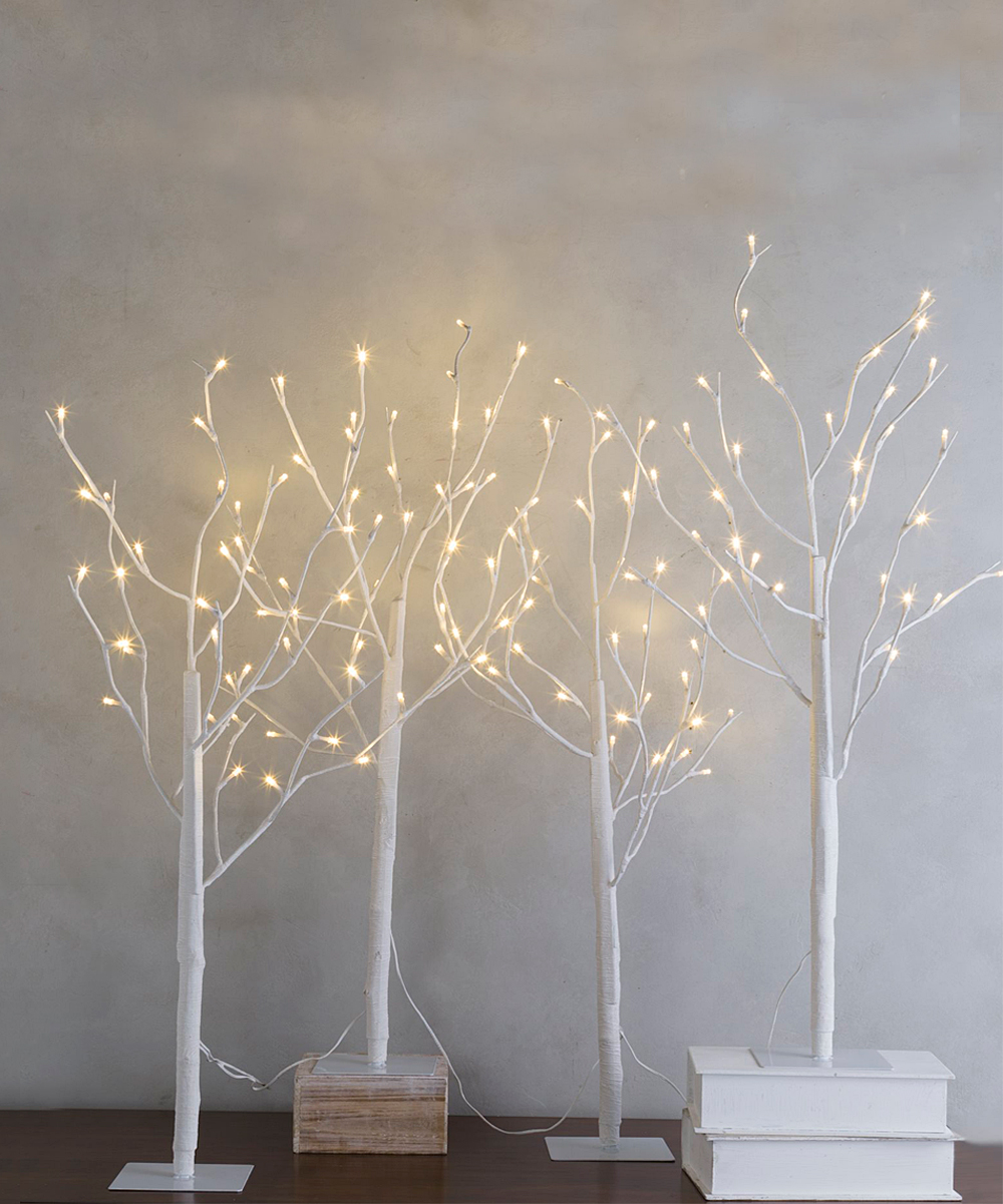 differently e380b 8a1f0 Wind & Weather Light-Up Indoor/Outdoor Birch Tree Décor - Set of Four